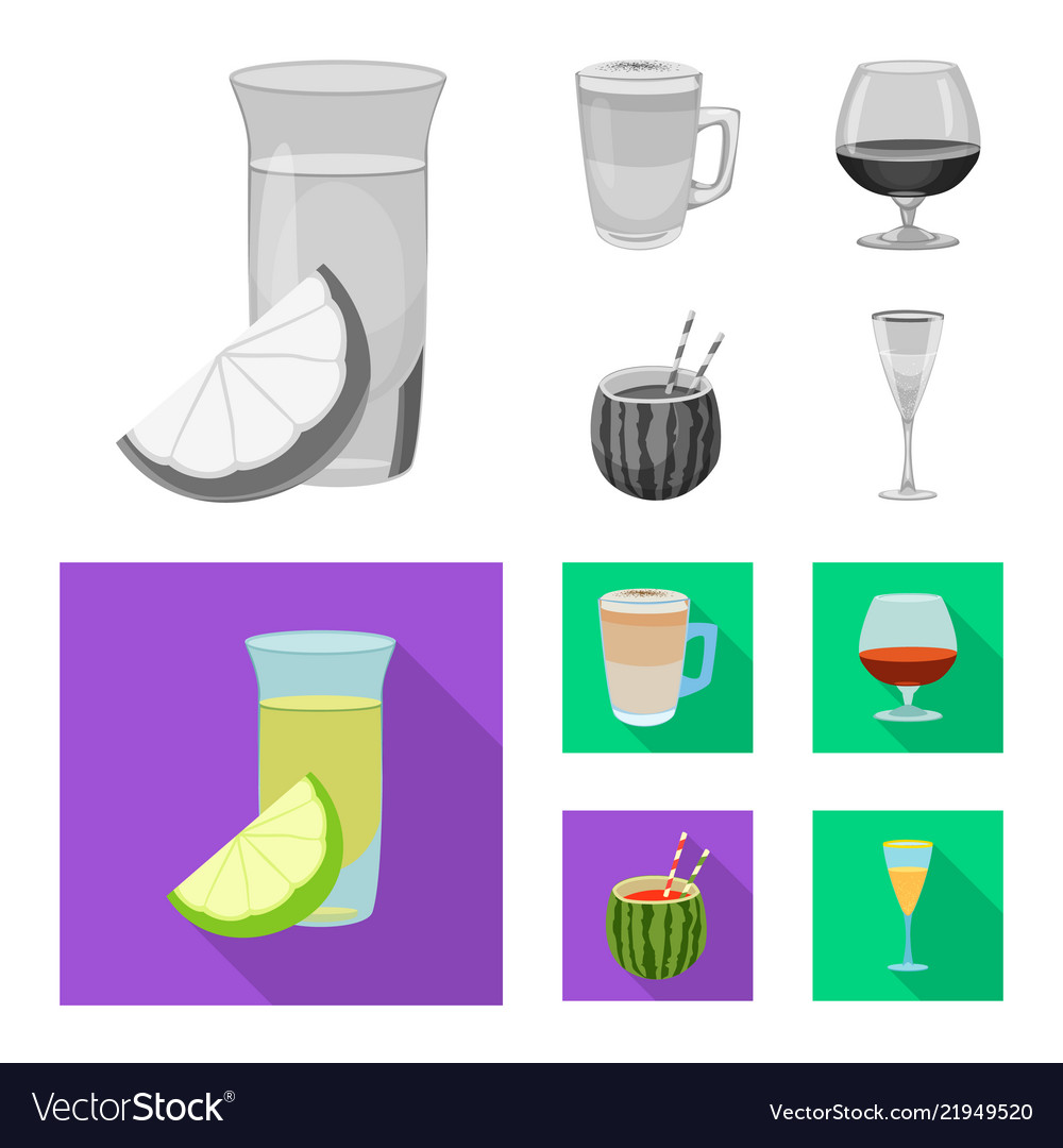 Isolated object of drink and bar logo set of