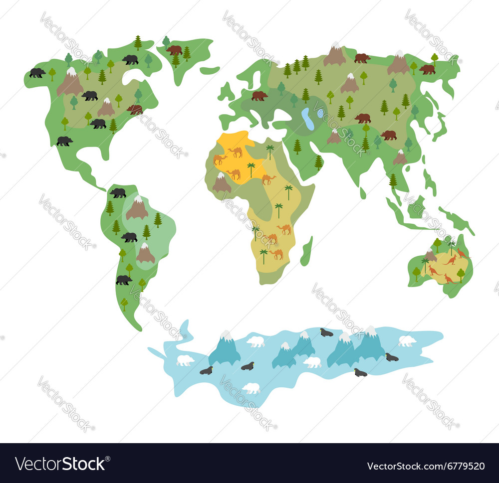 Map of world with animals and trees Geographic map