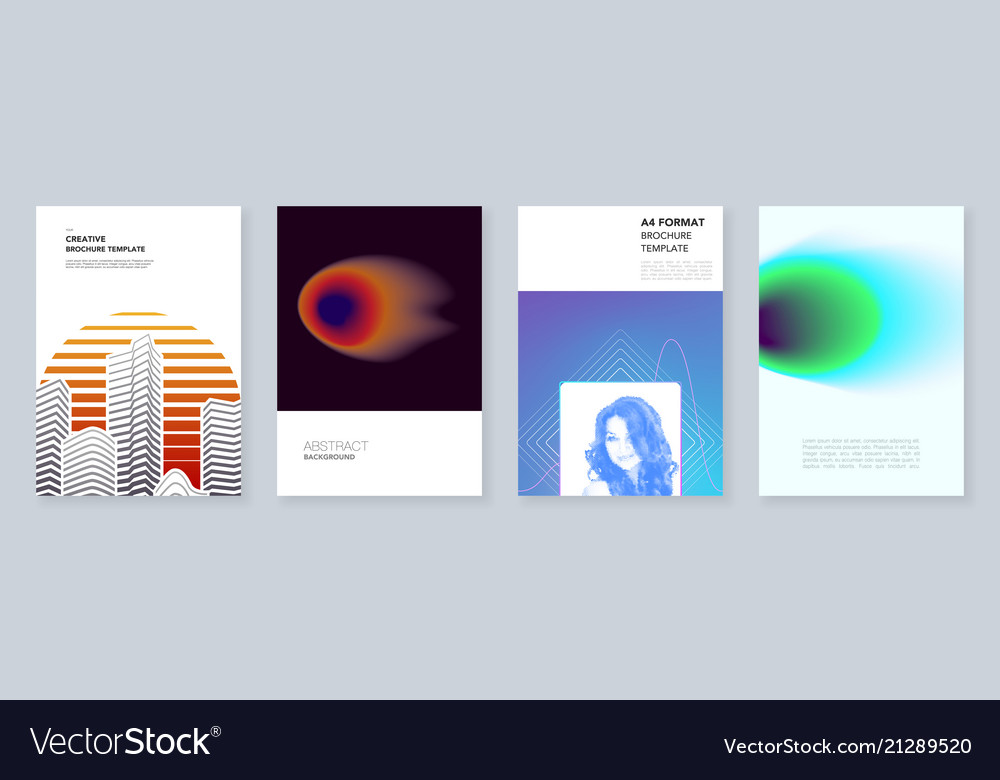 minimal brochure templates with colorful abstract vector image - Colorful Brochure Templates