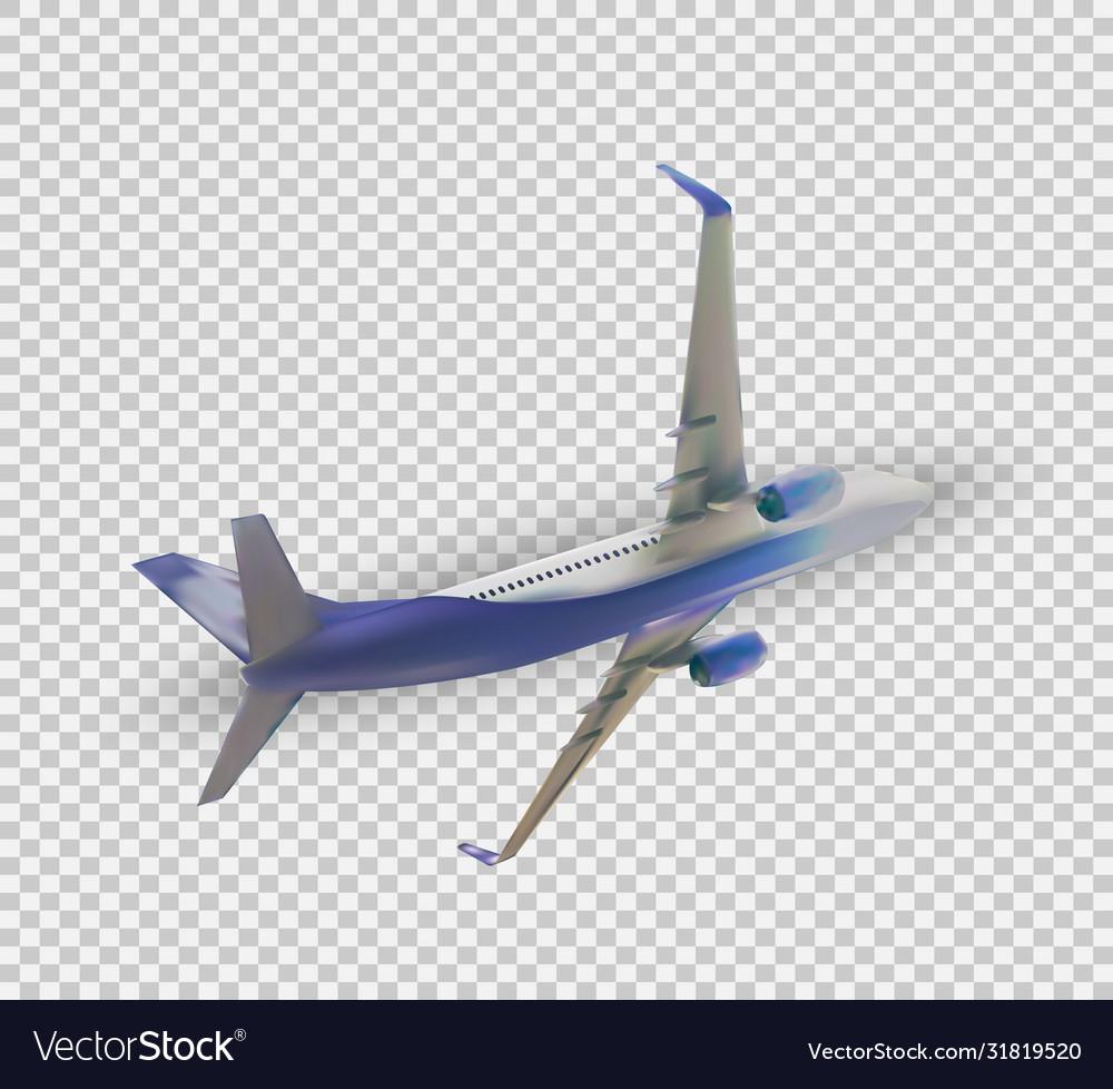 Naturalistic 3d passenger plane flying on