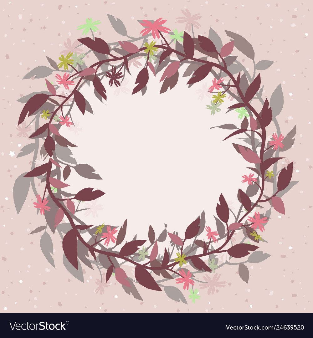 Pink background with a round floral frame in the