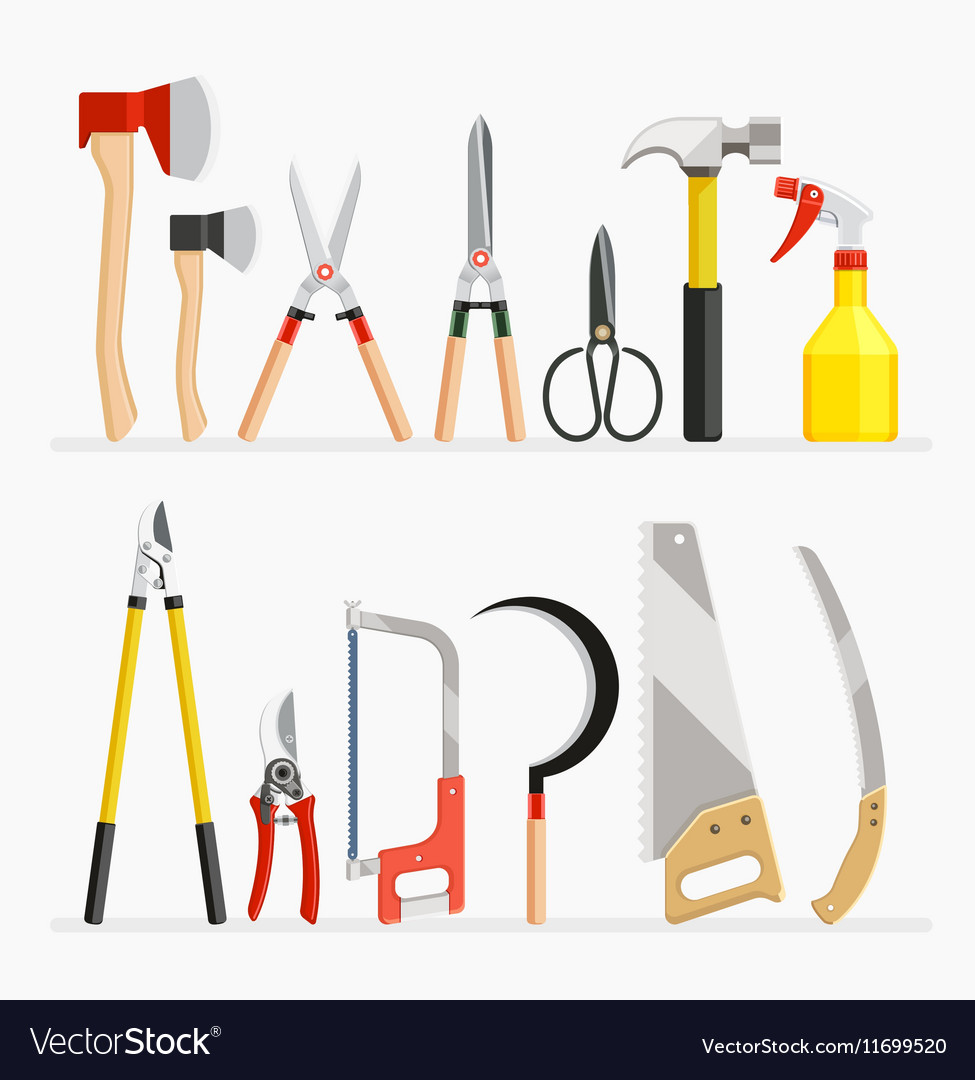 Set of craftsman and gardener tools items