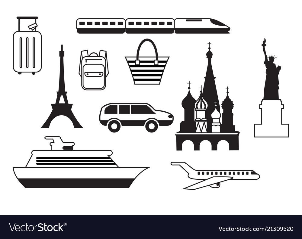 Set of travel icons mobile app printing web