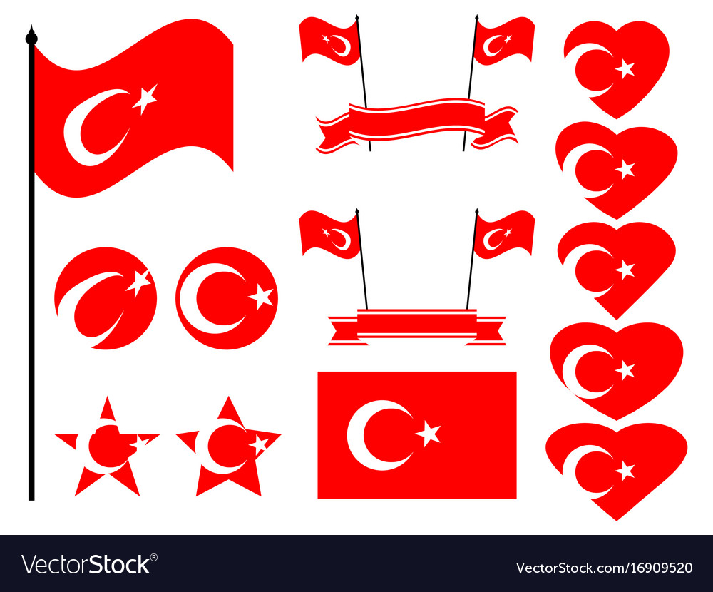 Turkey flag set collection of symbols flag