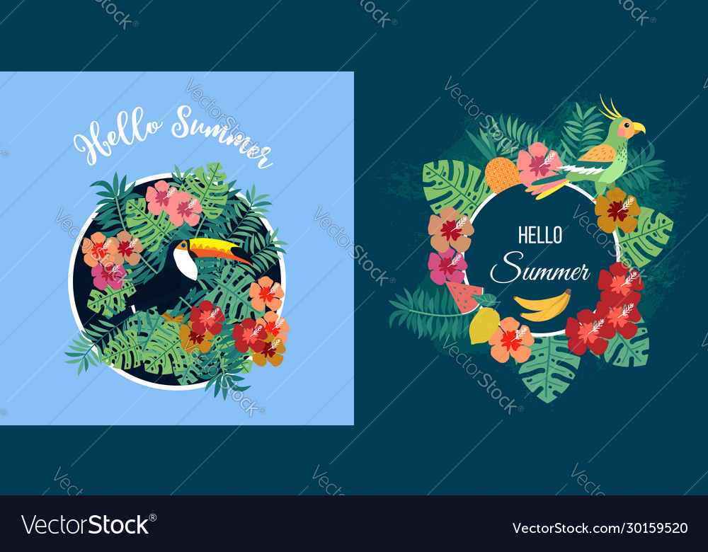 Two summer cards with tropical birds on floral