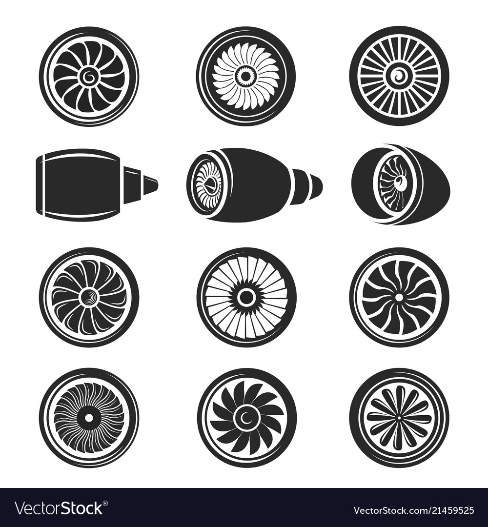 Airplane turbine icon set