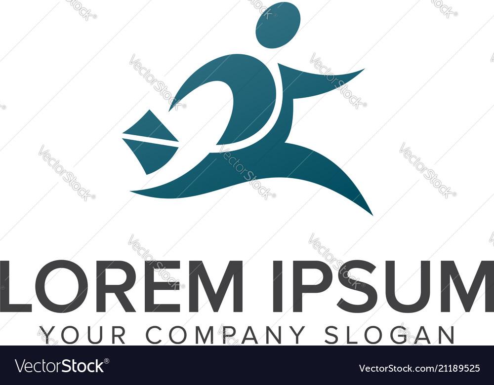 Businessman running logo design concept template