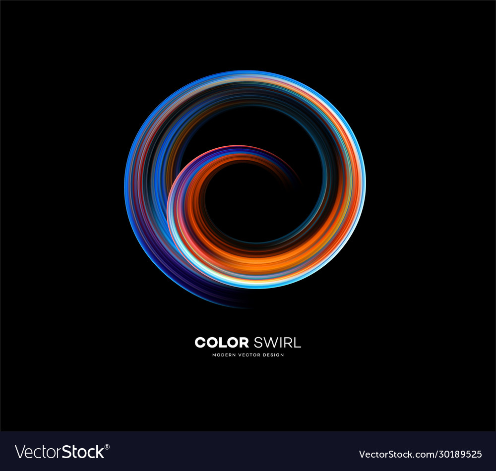 Color bright swirl organic 3d shape colored flow