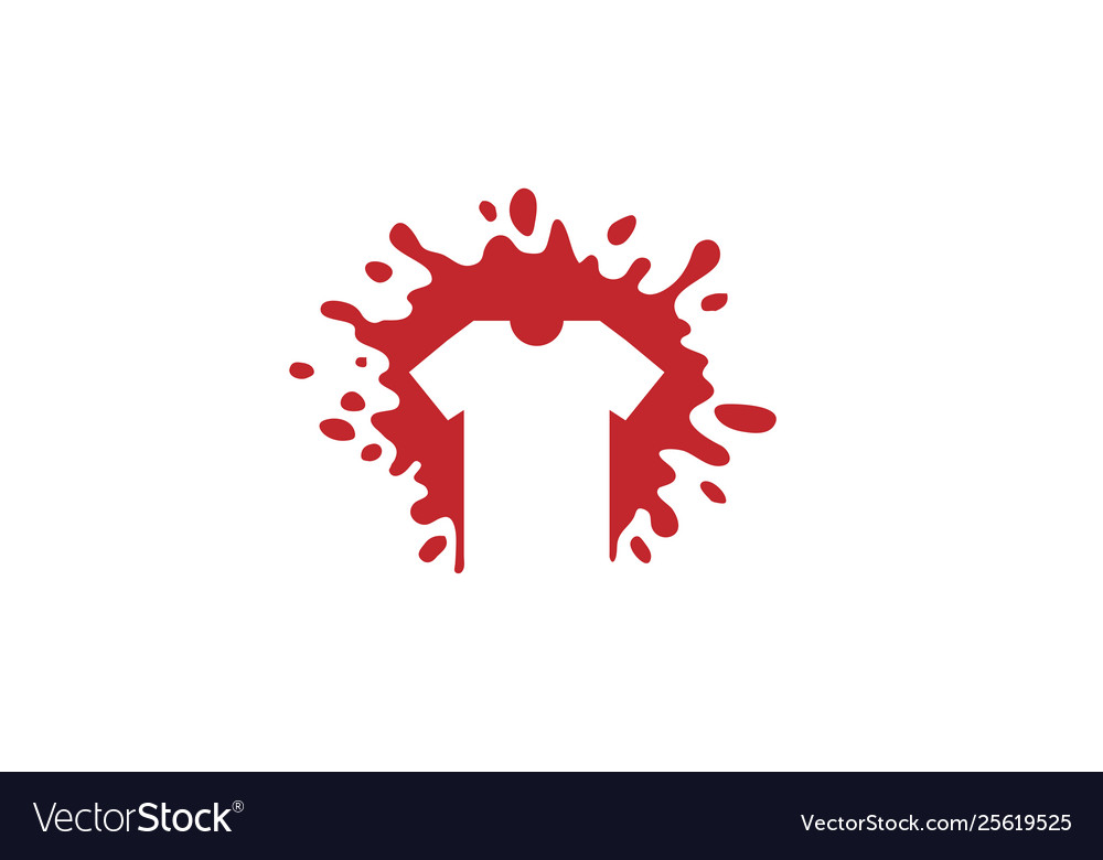 Creative red tshrit splashes logo design symbol