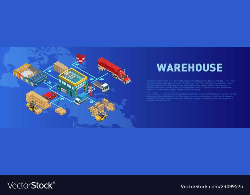 Description Near Warehouse Work Scheme Royalty Free Vector