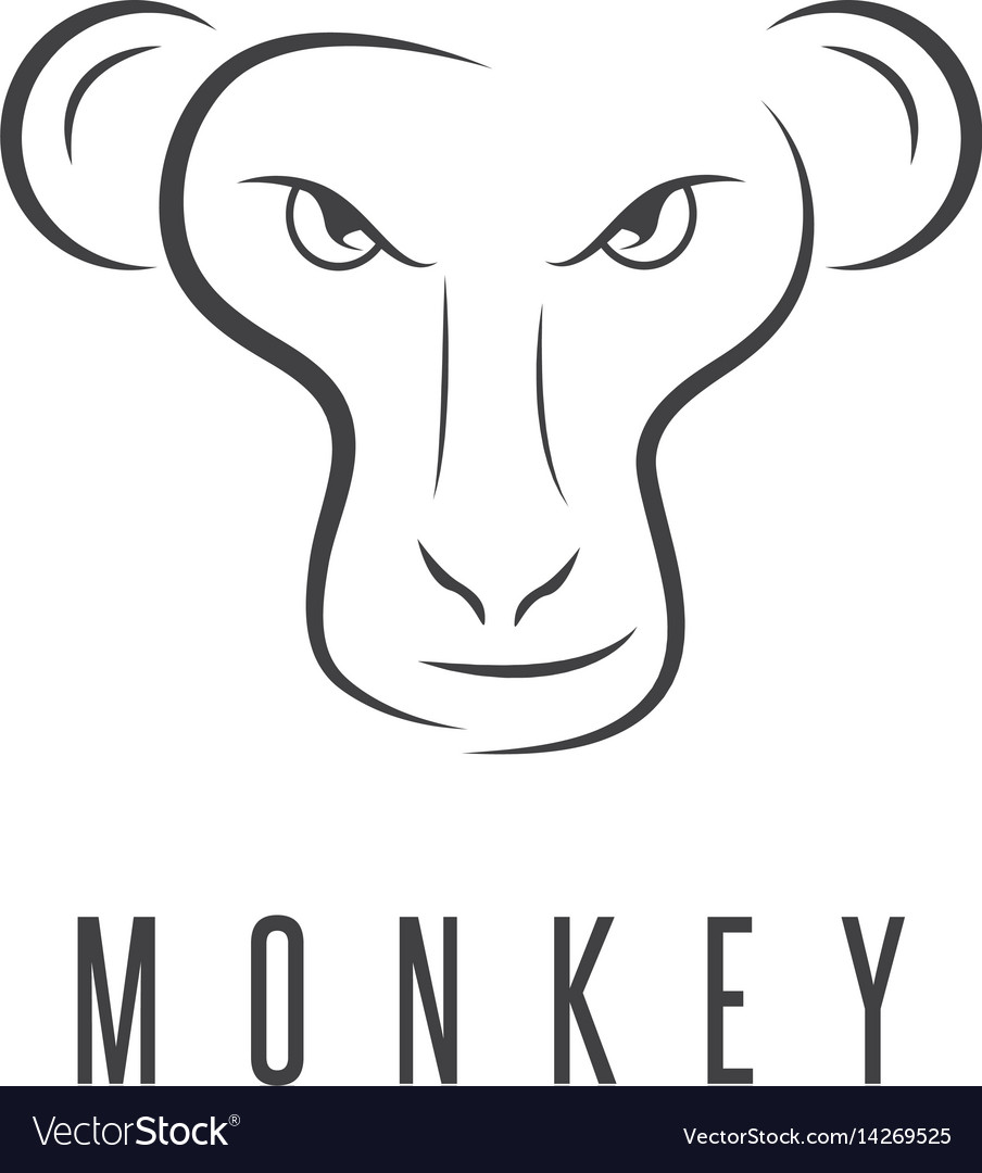 design template of the monkey face royalty free vector image