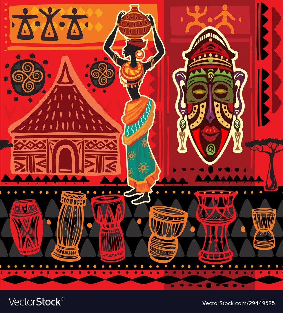 Ethnic background with african motifs