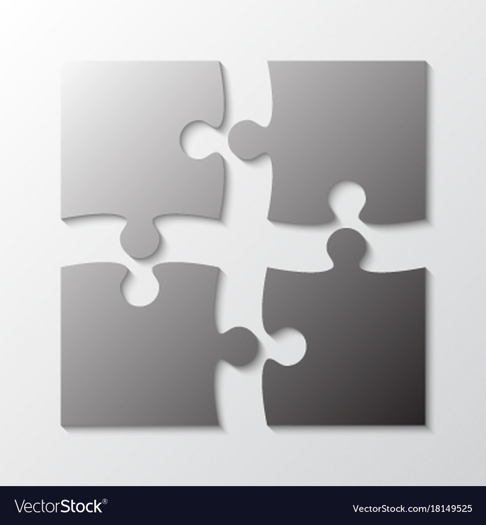 Four grey piece jigsaw puzzle four section