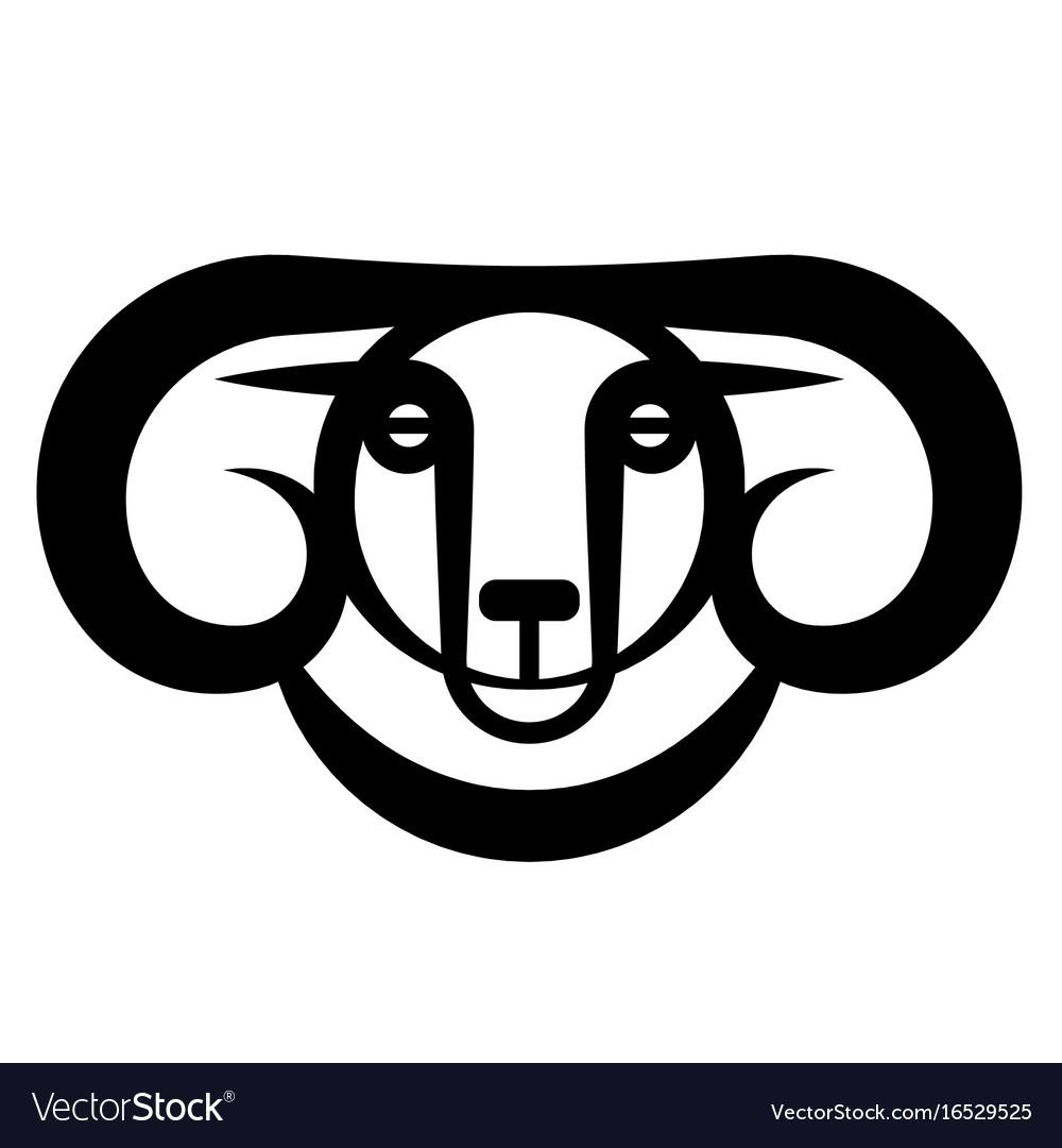 Head of horned dark ram