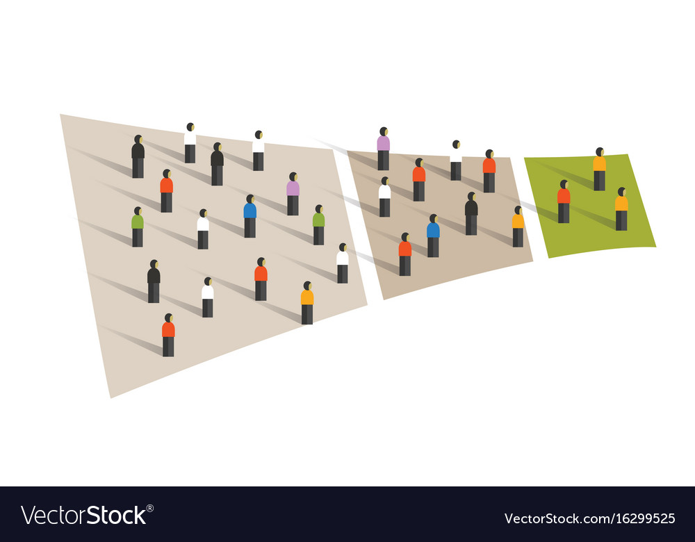 People crowd funnel flow conversion group graphic