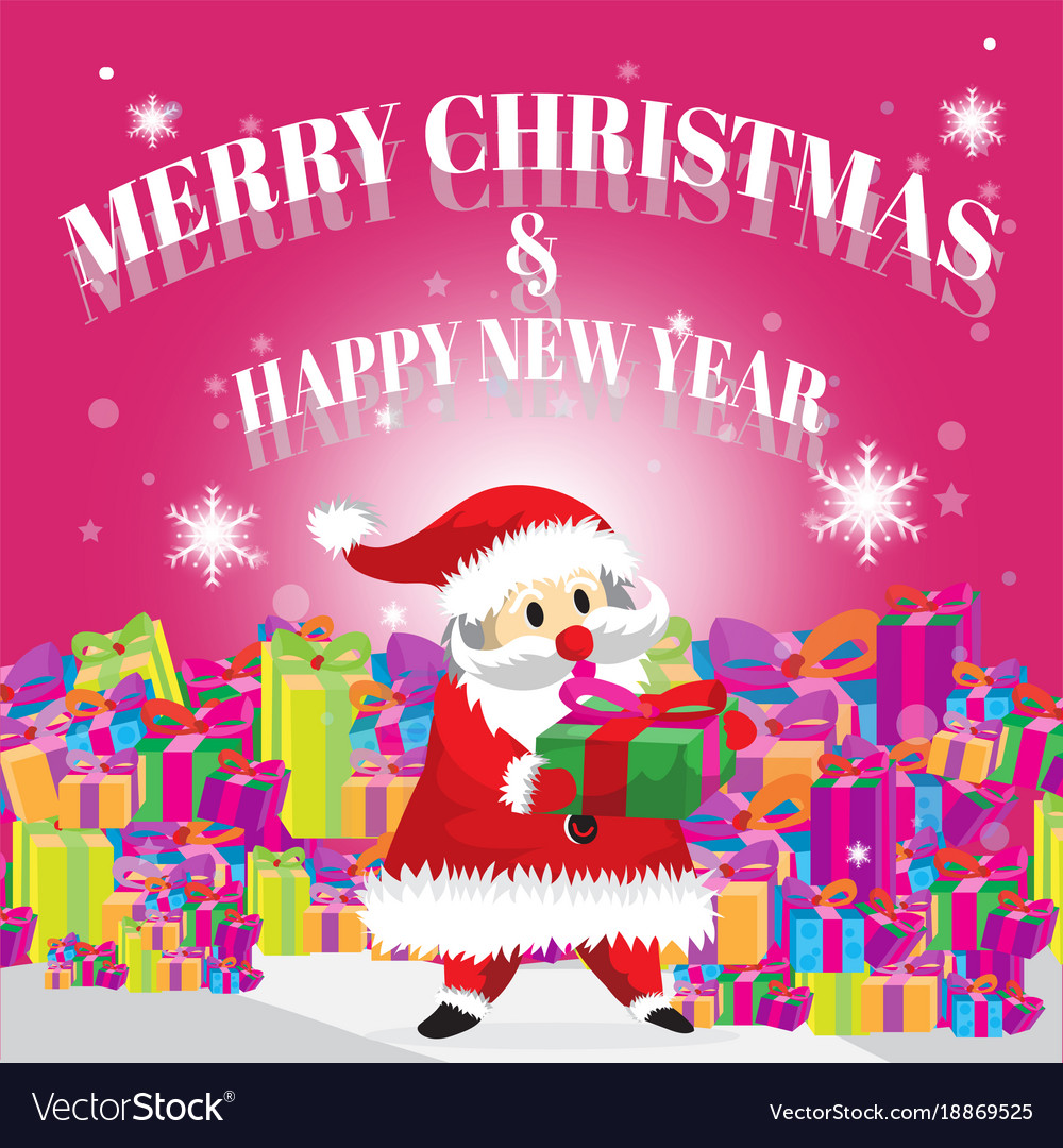 Santa carry gift and merry christmas pink Vector Image