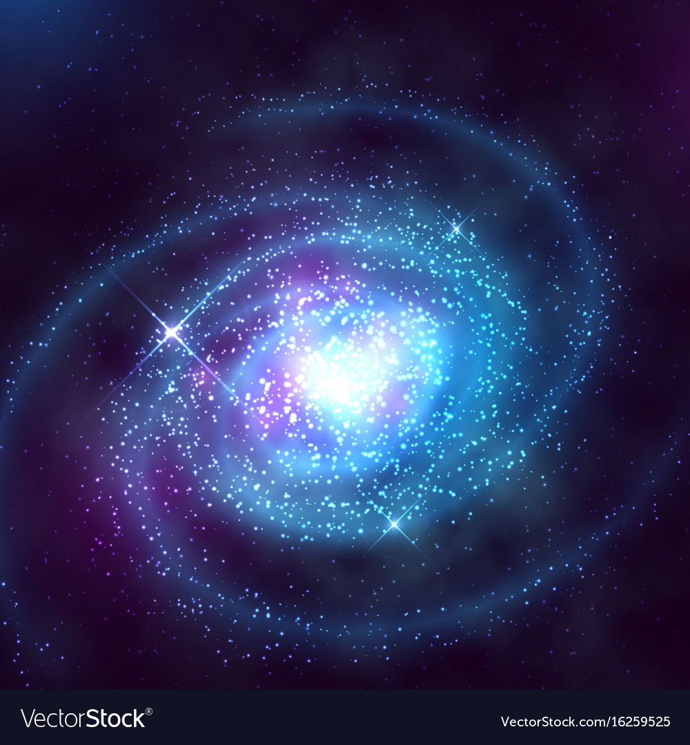 Spiral galaxy in outer space with starry blue sky