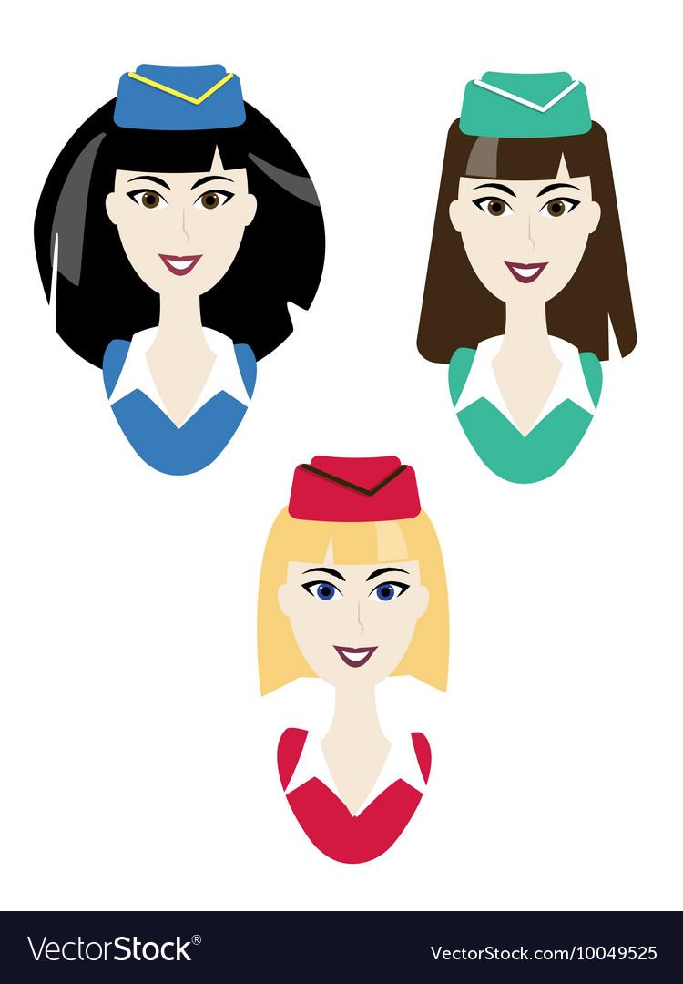 Stewardess icons Simple air hostess avatar vector image
