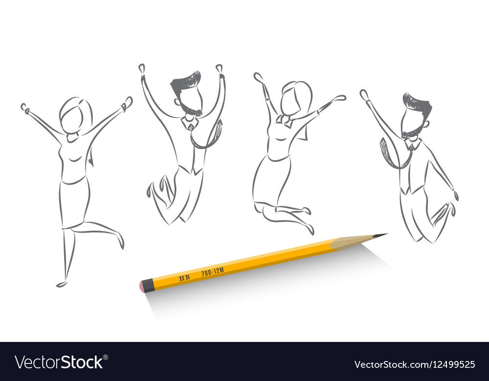 Team of people celebrating a business victory vector image