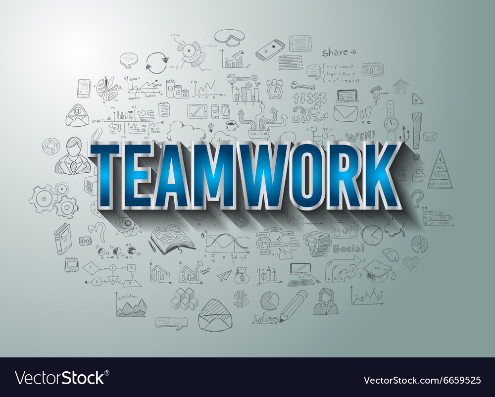 Teamwork Business Success with Doodle design style