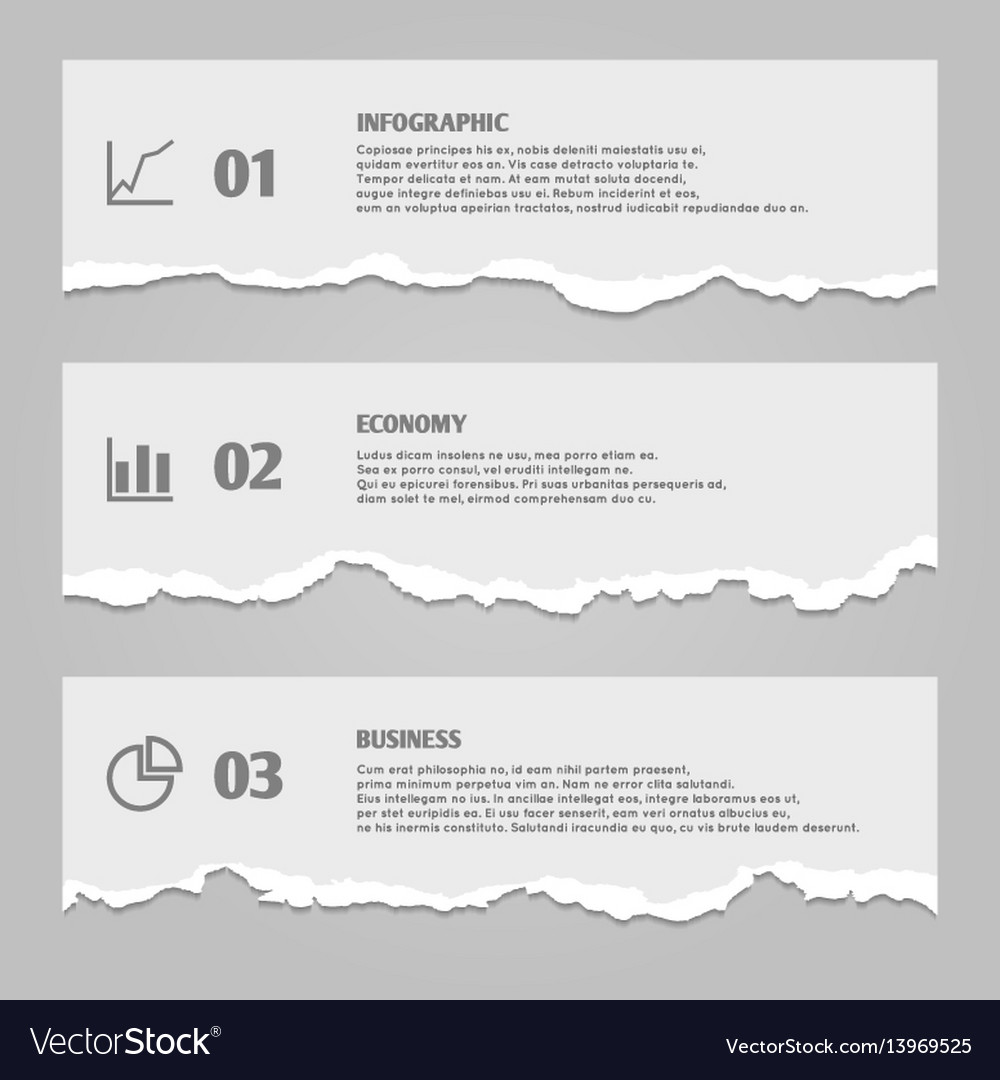 Torn paper sheets with numbers infographic icons