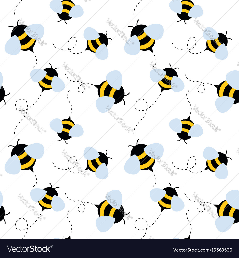 Bee seamless pattern honey