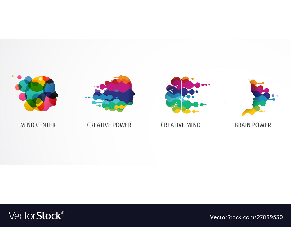 Brain creative mind learning and design icons