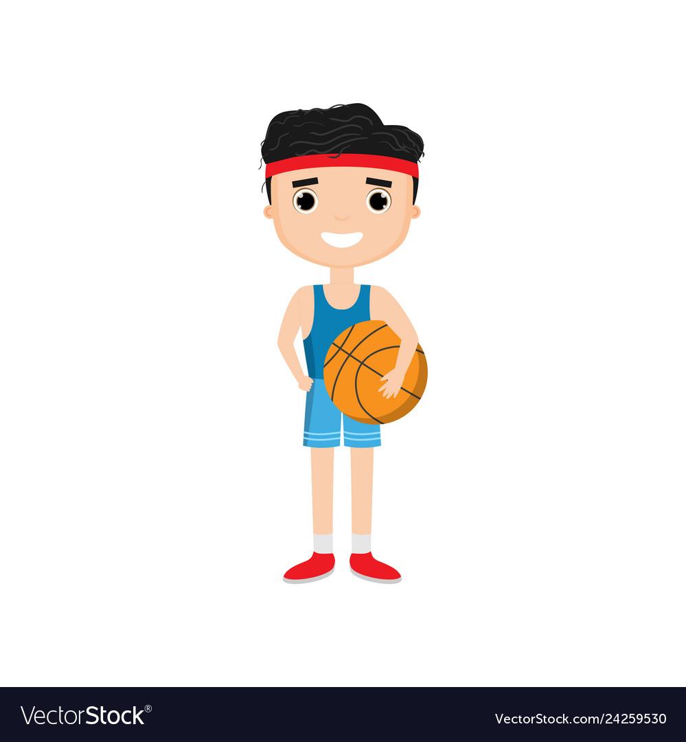 Cartoon boy holding basketball isolated on white