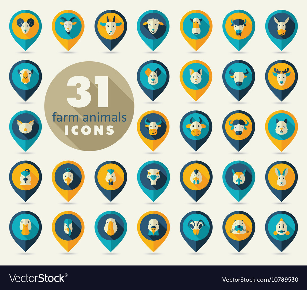 Farm animals flat pin map icon set head vector image