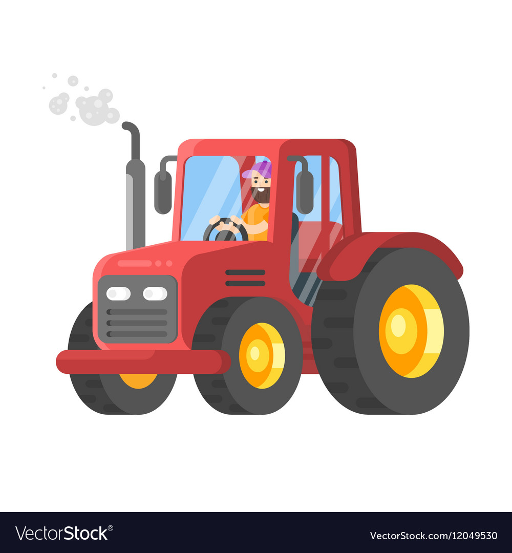 Flat style of tractor-driver