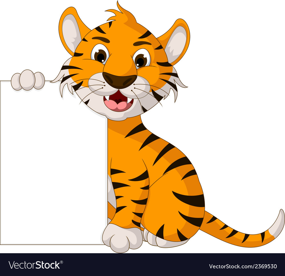 Funny tiger cartoon posing with blank sign