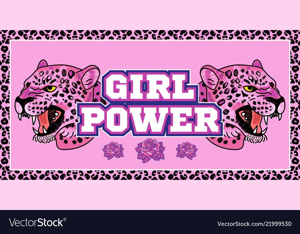 Girl power print with pink leopard