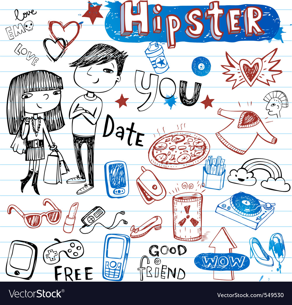 Hipsters doodle set vector image
