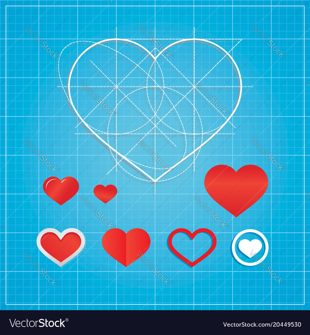 Holiday card hearts on blueprint paper royalty free vector holiday card hearts on blueprint paper vector image malvernweather Images