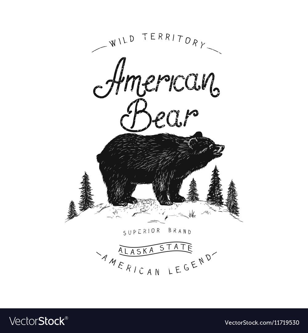 Old label with bear