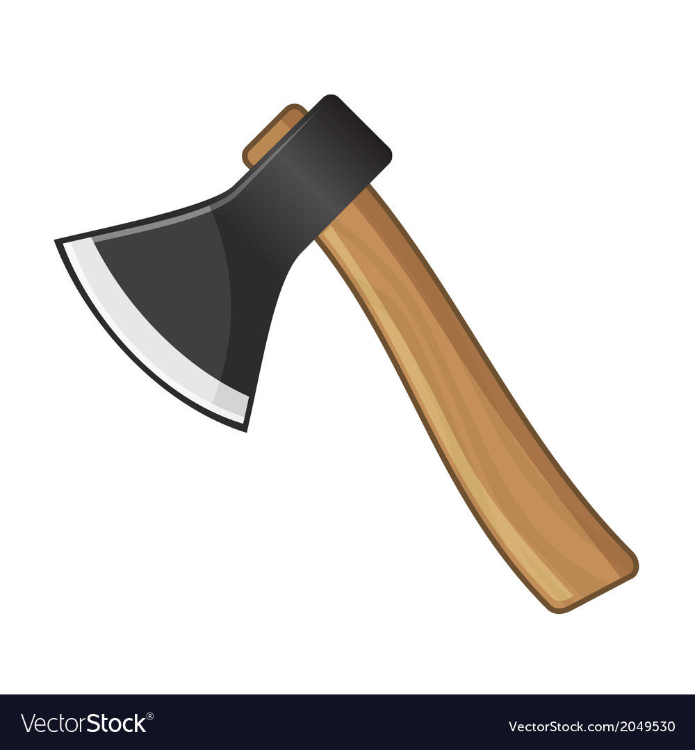 Old Steel Axe on White Background