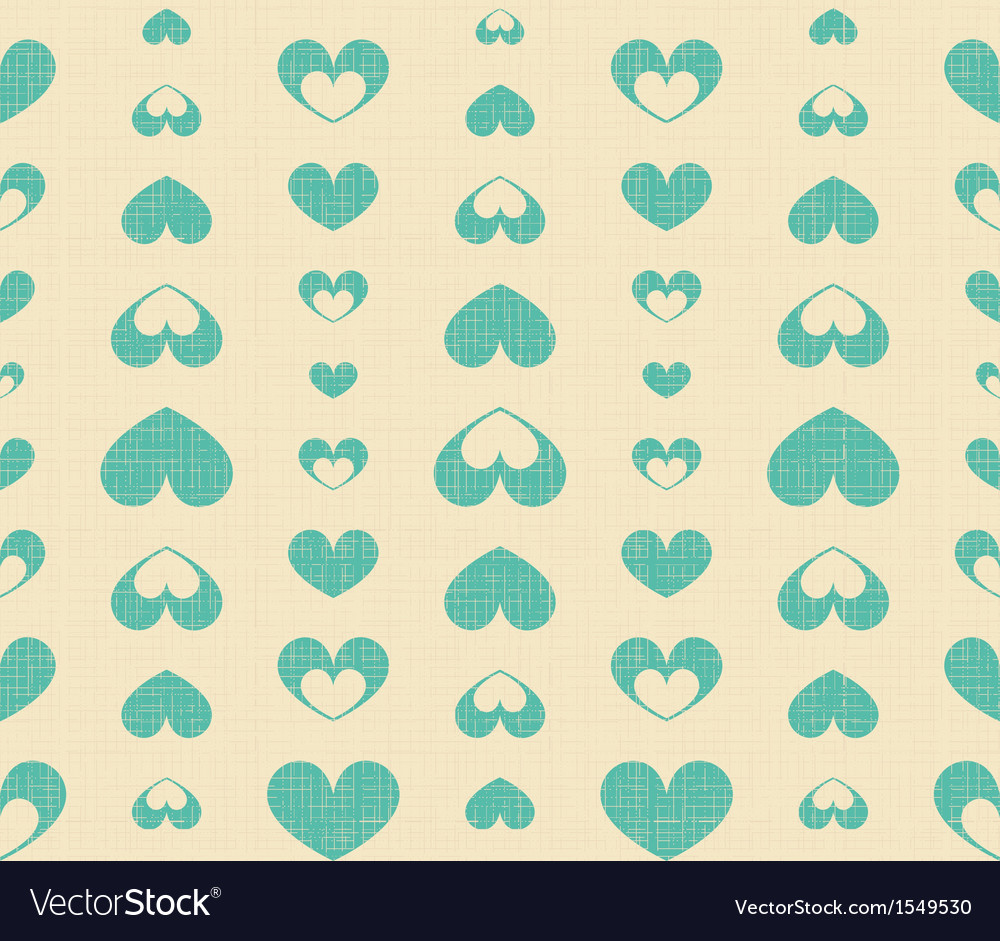 Retro Seamless Pattern with Blue Hearts