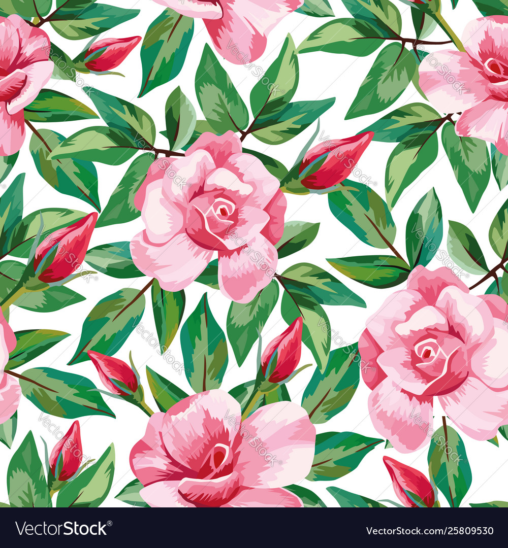 Rose pattern seamless white background