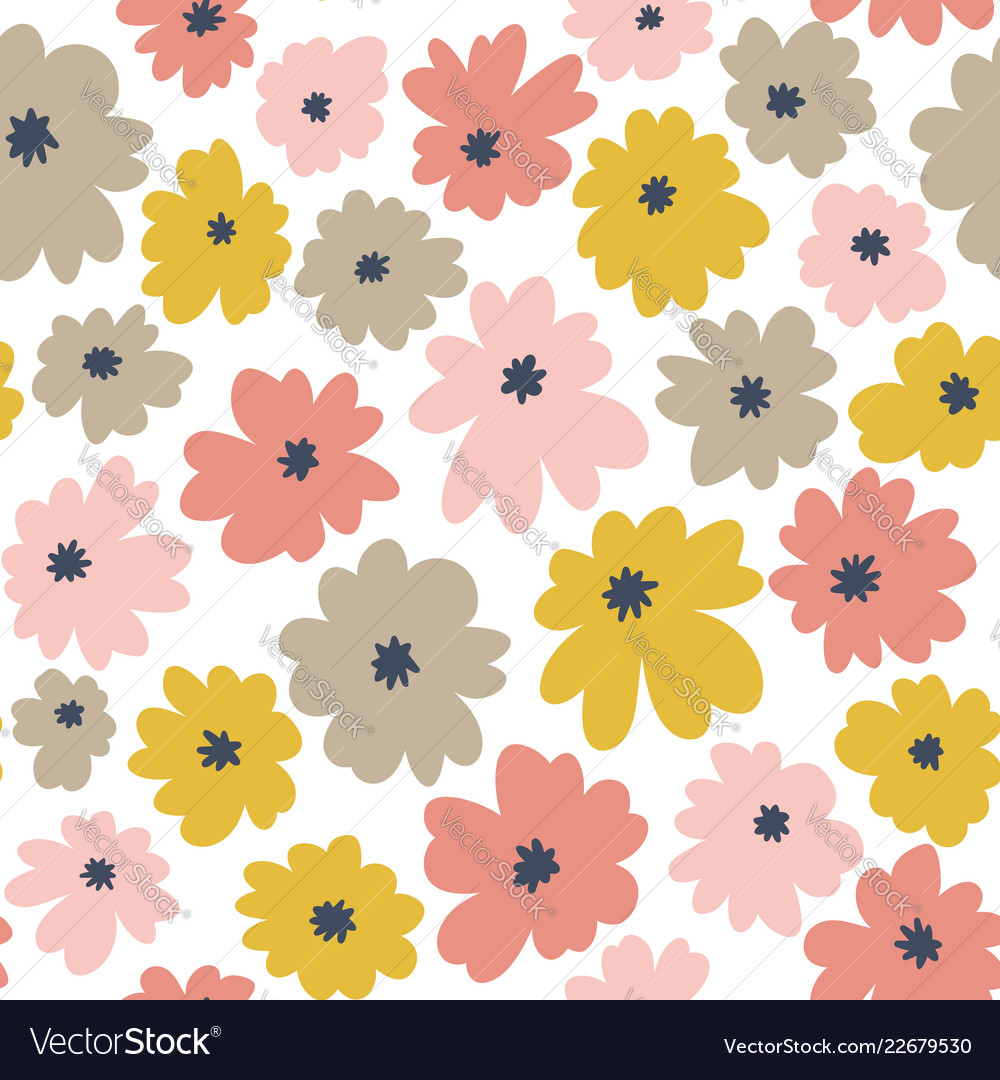 Seamless floral pattern in doodle style with
