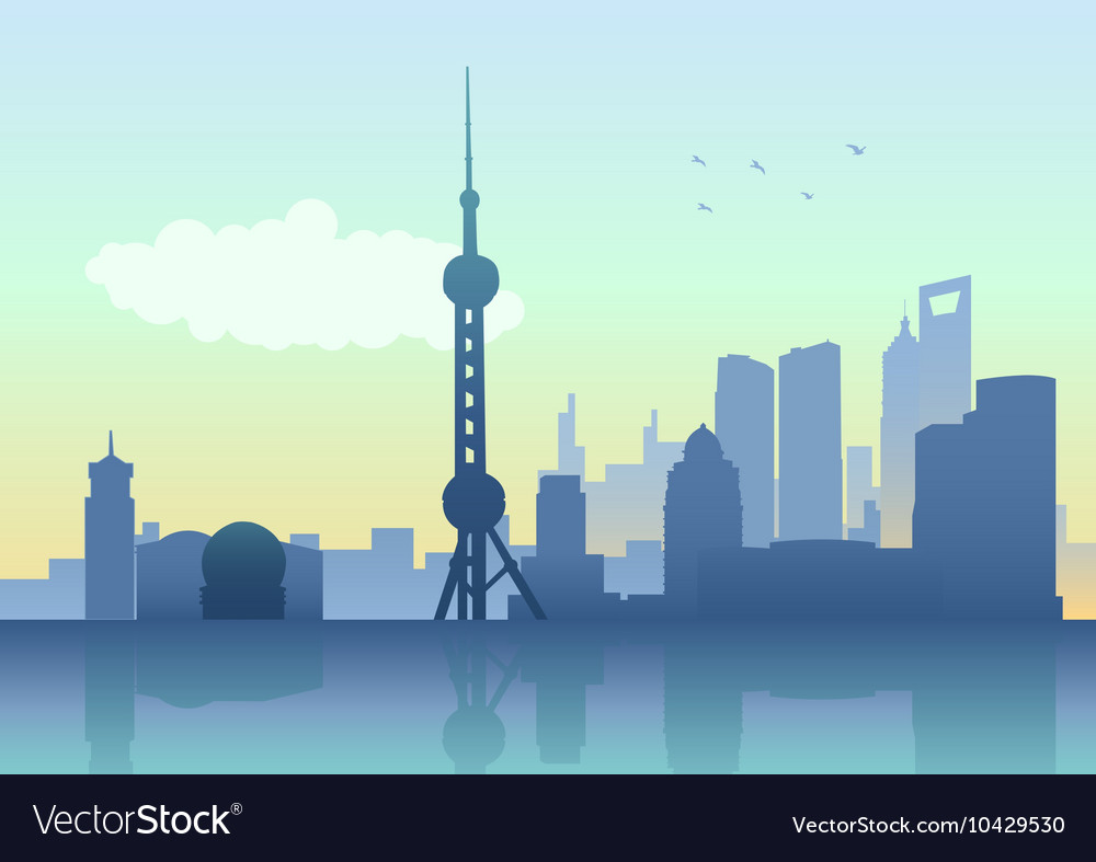 Silhouette of Shanghai skyline