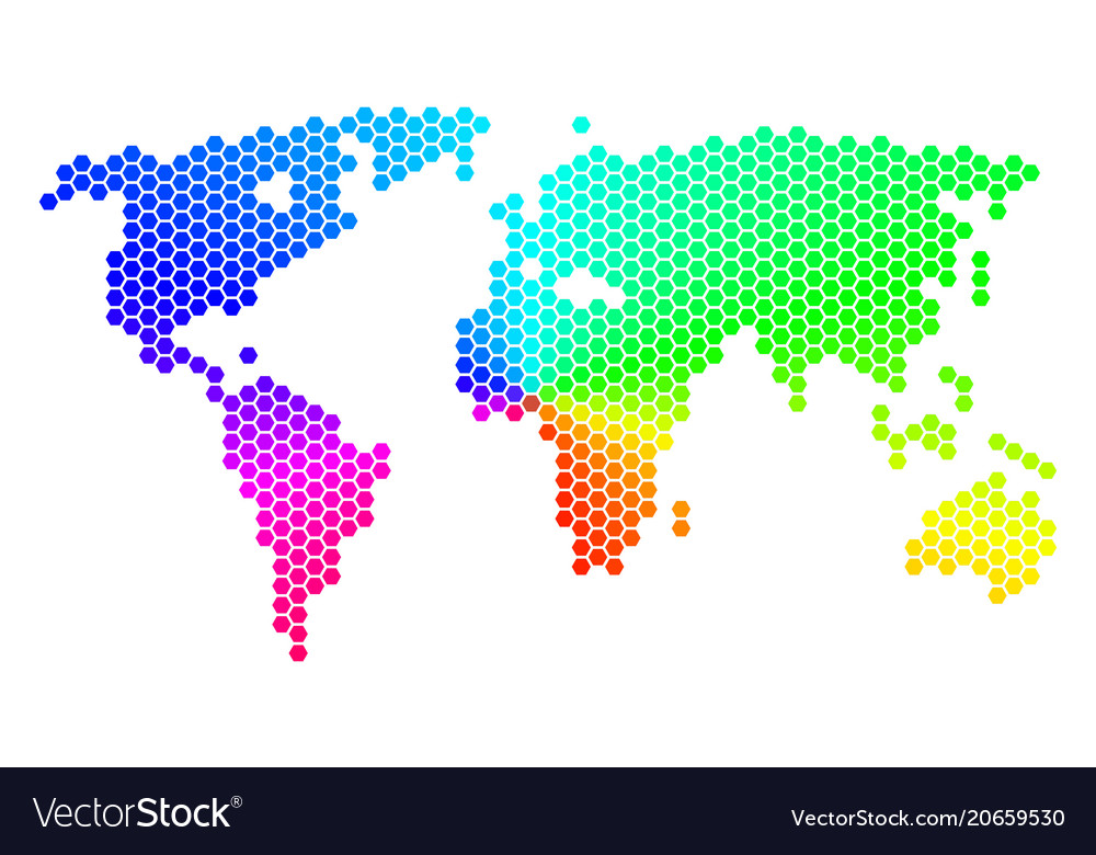 Spectrum hexagon world map royalty free vector image spectrum hexagon world map vector image gumiabroncs Gallery