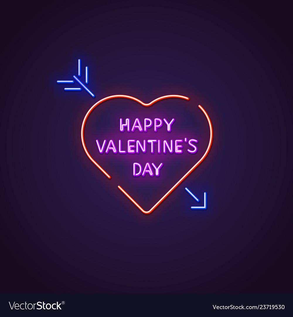 Valentines day neon banner