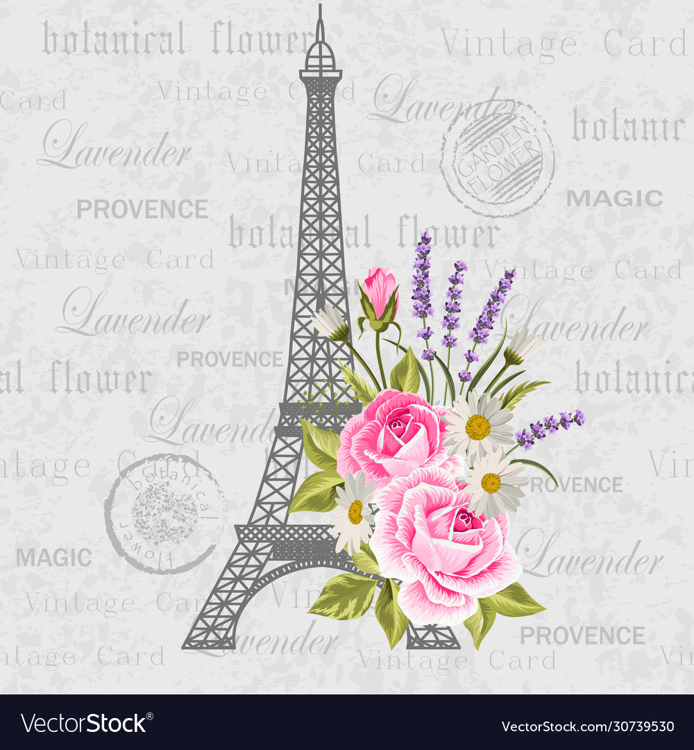 Vintage postcard with eiffel tower and flowers