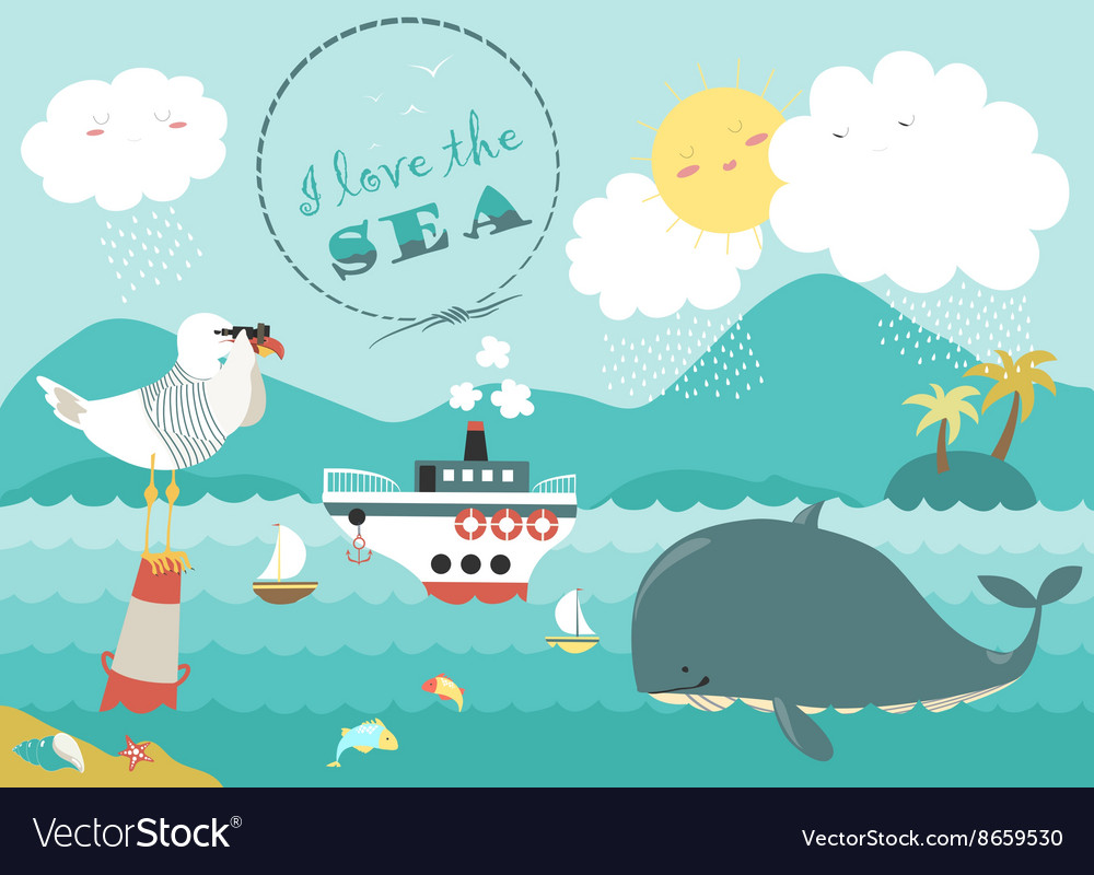 Whalesteamship and seagull in blue sea
