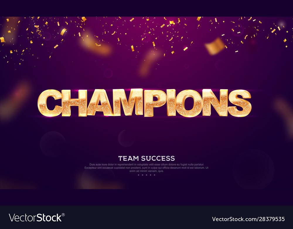 3d golden glitter word champions