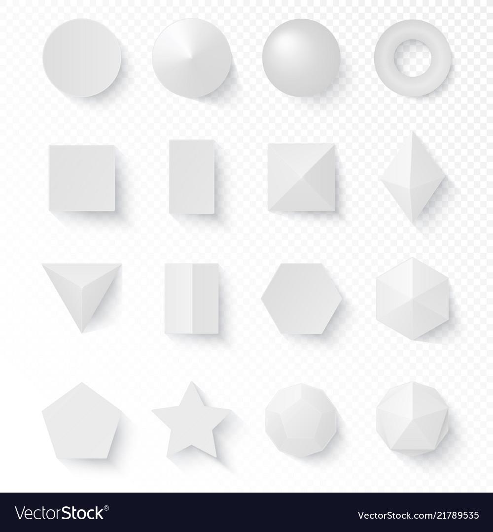 3d volumetric soft white shapes figures set