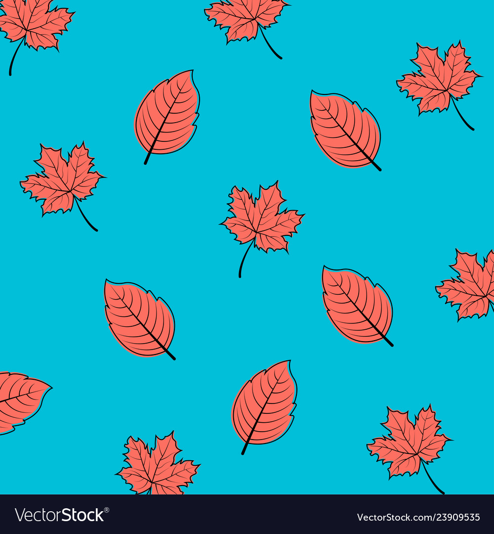 Autumn leaves in coral color seamless pattern