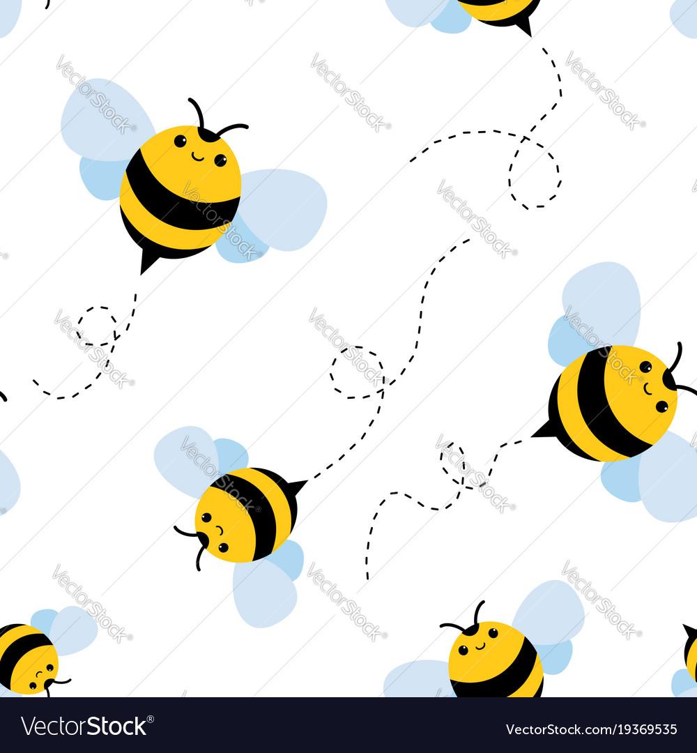 Bee seamless pattern honey