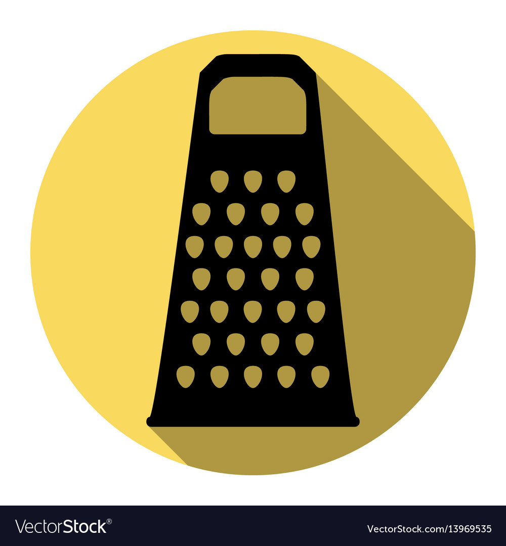 Cheese grater sign flat black icon with