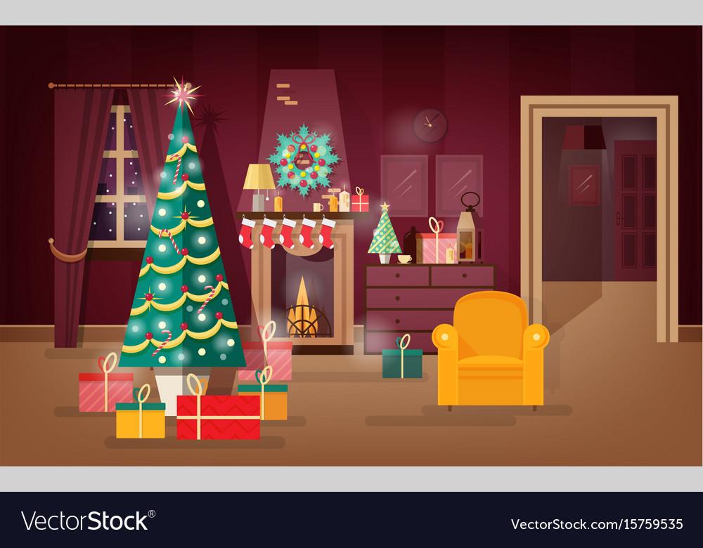 Holiday Living Christmas Tree.Decorated Winter Holidays Living Room